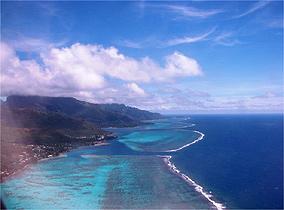 Vista a�rea de Moorea, uma das mais belas ilhas da Polin�sia Francesa