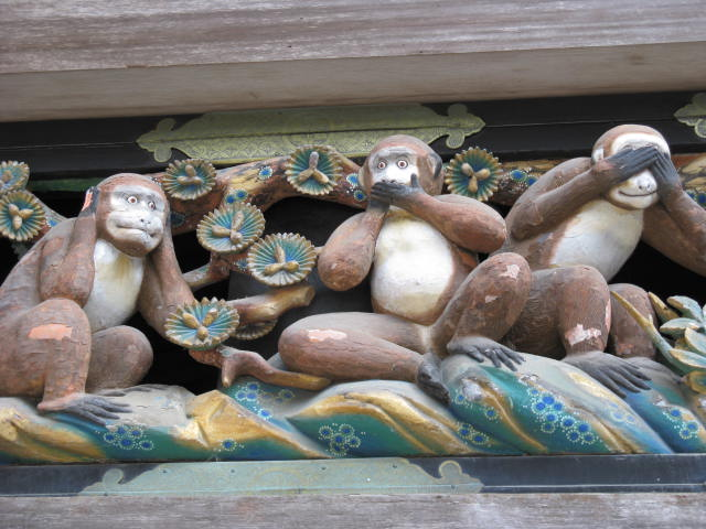 Macacos entalhados, em Nikko