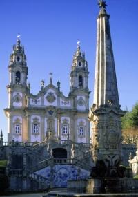 Fachada da igreja de Nossa Senhora dos Remédios, em Lamego, Portugal